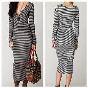 Free People Costas Black White Striped Maxi Dress